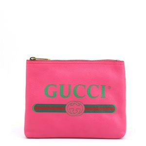 GUCCI PRETTY PINK LEATHER CLUTH